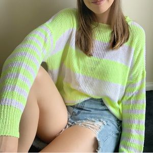 Lightweight Neon Striped Sweater